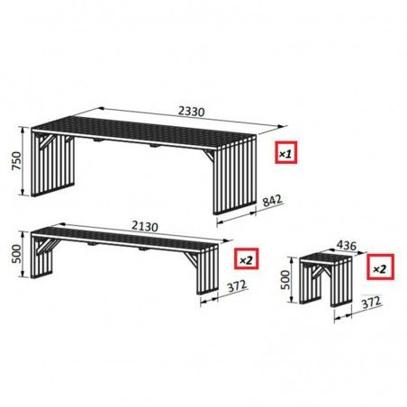Set picnic Line, 44mm, 233 x 84 cm