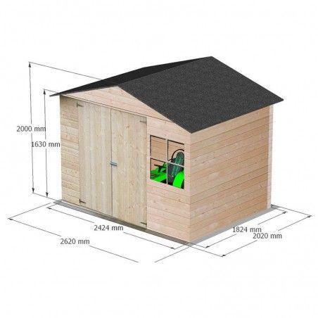 Misure della casetta in legno Loguec 12mm, 242 x 182 cm, 4.42m²