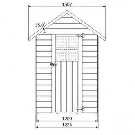 Misura della casetta in legno Altea, 12mm, 122 x 162 cm, 1.98m²