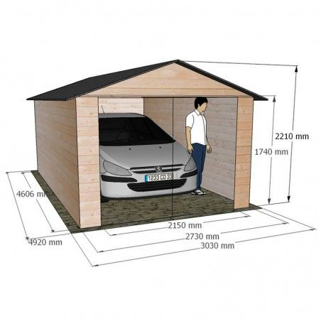 Misure garage in legno Garove 273 x 461 cm, 12.57 m²