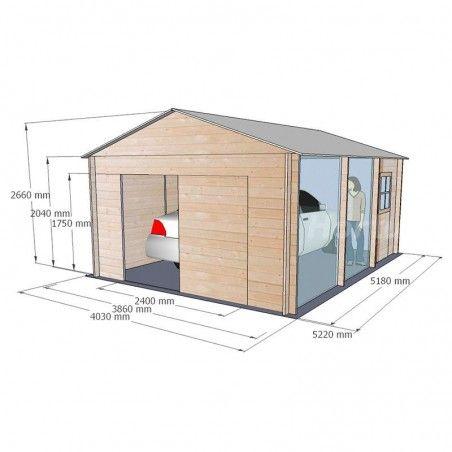 Misure garage in legno Garodeal, 386 x 518 cm, 19.99 m²