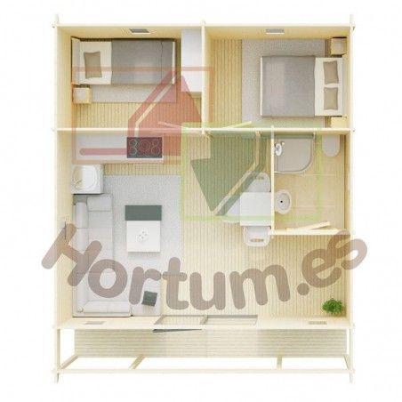 Case in legno Gila 68 mm, 700x800cm, 55 m²