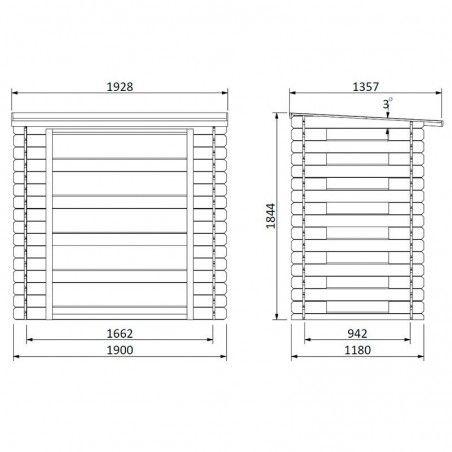 Misure legnaia prefabbricata in legno 19 mm, 190 x 118 cm, 2.24m²