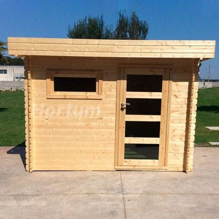 Casetta di legno Plosireal con tetto piano per il giardino 300x200 m