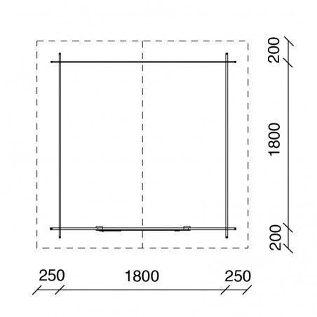 Misure casetta Londra 18mm, 200 x 200 cm, 4m²