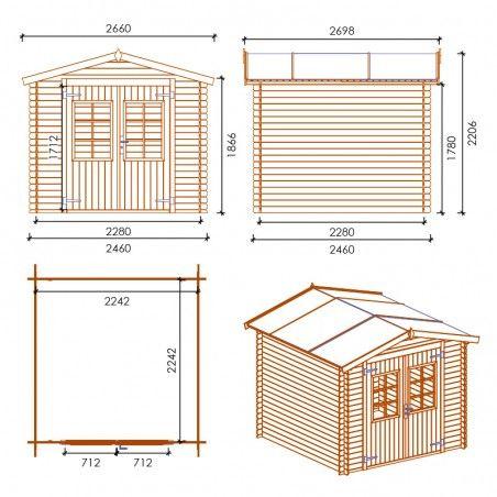 Misure casetta in legno Marina impregnata