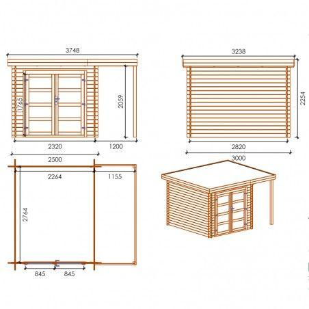 Misure casetta legno impregnato Lidia