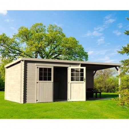 Casetta in legno con pergola in allegato Eden 28 mm, 605 x 300 cm, 18 m²