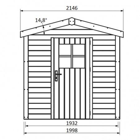 Misure casetta da giardino in legno Tison 19 mm, 200 x 203 cm, 4,06 m²