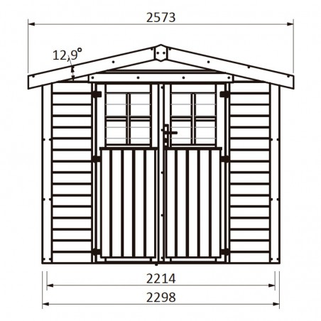 Misure casetta da giardino in legno Mireia 28 mm, 230 x 217 cm, 4,99 m²