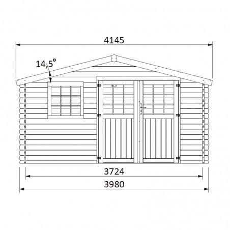 Misure de la casetta in legno Valeria 34 mm, 400 x 300 cm, 11.86 m²
