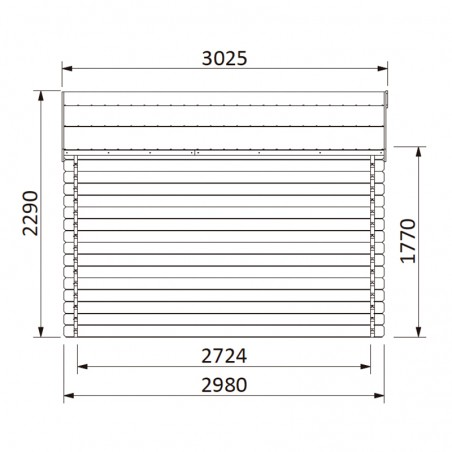 Misure casetta in legno Valeria impregnata 34 mm, 400 x 300 cm, 11,86 m²