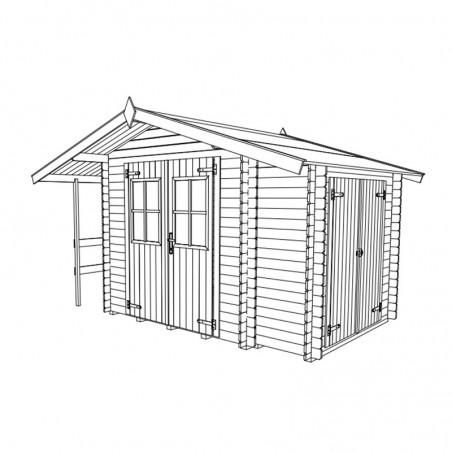 Misure casetta di legno Margherita 18 mm, 340 x 220 cm, 5m²
