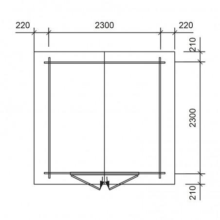 Misure casetta di legno Lia 250 x 250 cm