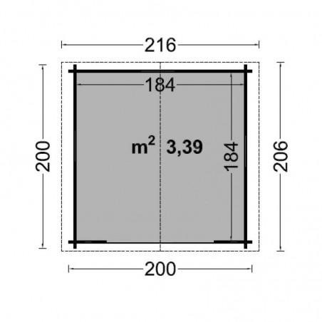 Misure casetta di legno Giulia 19mm, 200 x 200 cm, 3.4 m²