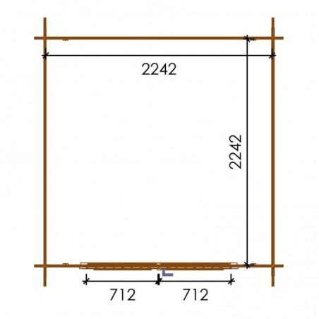 Misure Casetta impregnata Sandra , 19mm, 246 x 200 cm, 4.92m²