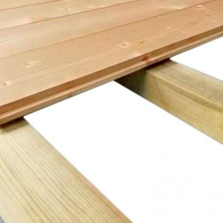 Pavimento di legno con travi trattati  per la casetta Cleo